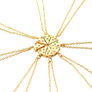 Circular Cheese Stitching Necklace Into 8 Pcs Pizza Pendant for Besties and Friends