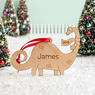 Dinosaur Brontosaurus Christmas Ornament Personalized Name, Baby's First Christmas 2019