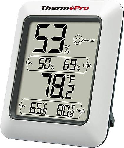 ThermoPro TP50 Hygromètre Numérique Thermomètre Intérieur Thermomètre D'ambiance et Indicateur D'humidité avec Monite...