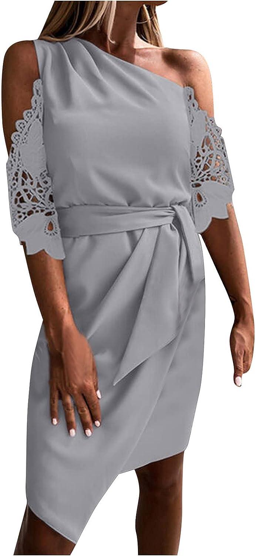 Women's Sexy Bodycon Basic Club Party Midi Dress Lace Stitching Stretchy Tank Dress