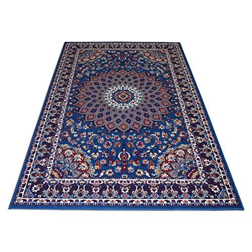 WEBTAPPETI.IT Teppich Economy Stil Perserteppich Klassisch Blau Royal Shiraz 2082-LIGHT Blue 1 pz. cm.70x130 + 2pz. cm.55x105 blau