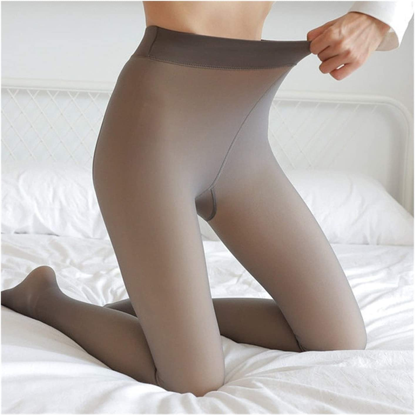 Linyuex Women Warm Pantyhose Push Up High Waist Abdomen Thick Winter Tights Fitness Slim Fit Pantyhose for Women (Color : Coffee A Thin)