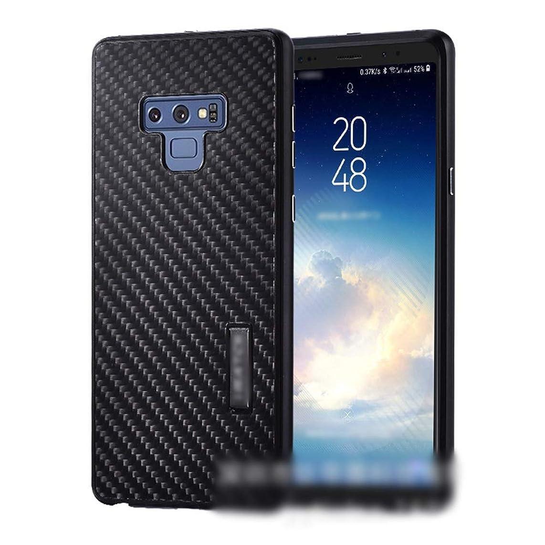 バングキャンプ落ち込んでいるTonglilili 電話ケース、サムスンS9プラス、S9、Note9、S8 Plus、Note8、S8、S7用のカーボンファイバー電話ケースメタルカバーホーンケース (Color : 黒, Edition : S9)