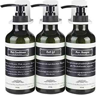 Frylr Wall-Mounted Shower Soap Dispenser 3 Chambers (17.5 Oz Each) No Drilling Bathroom Dispensers Separate PET Plastic Pump Bottles for Shampoo/Lotion/Conditioner/Hand Sanitizer Dark Green