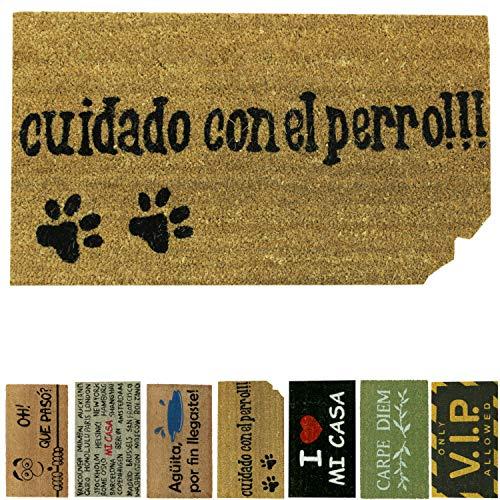 LucaHome - Felpudo de Coco Natural 70x40 con Base Antideslizante, Felpudo de Coco Divertido Cuidado con el Perro, Felpudo Absorbente Entrada casa, Ideal para Puerta Exterior o Pasillo