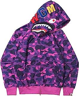 Men's B-APE Hoodie Shark Head Zipper Sweatshirt Camo Print