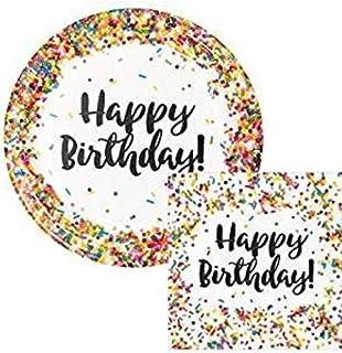 "Creative Converting Sprinkles Birthday 9"" Plates (16) Napkins (16) Party Bundle"