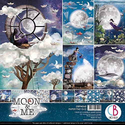 Ciao Bella Paper Moon & Me - Bloc de papel de doble cara (30,5 x 30,5 cm, 12 unidades)