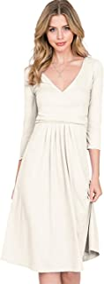 Women's 3/4 Sleeve Deep V-Neck Top Loose Fit Flare Dress with Plus Size