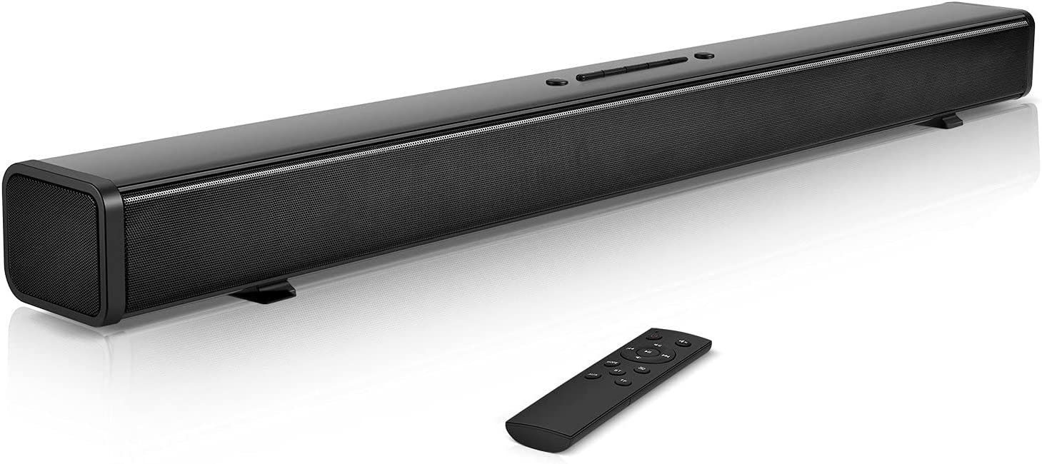 32-Inch TV Sound Bars,Lvssci Sound Bars for TV,Home Audio TV Speakers with Bluetooth 5.0 HDMI/Optical/Coaxial/AUX/RCA (Wall Mountable, Remote Control)