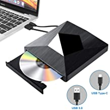 External CD DVD Drive Dual USB 3.0 Type C,Portable CD-RW/DVD-RW Writer Reader Player Burner Optical Disc Super Drives for Laptop PC Windows 7/8/10 and Mac OS Linux