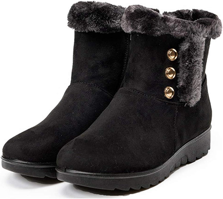GIY Women's Warm Fur Snow Boots Side Zip High Top Slip On Platform Winter Anti-Slip Outdoor Ankle Booties