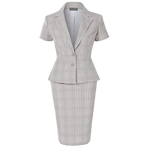 9248e0cd9b LE3NO Womens Formal Office Business Blazer and Skirt Suit Set Made In USA