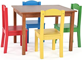 Tot Tutors Friends Highlight Collection Playroom Kids Durable Cedar Wood Table & 4 Primary Chair Set