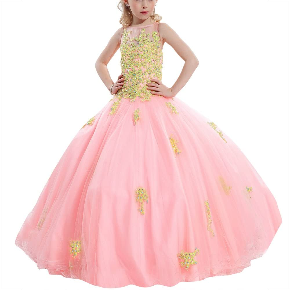 SHANGSHANGXI Girls Lace Pageant Ball Gown Prom Dress Applique Flower Girls Dress Floor Length