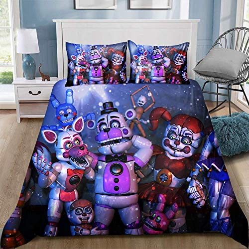FNAF - Set di biancheria da letto per bambini, 3 pezzi, con stampa 3D, senza copripiumino, lenzuola, per ragazzi e ragazze