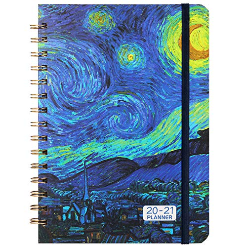 2020-2021 Planner - Weekly & Monthly Planner 6.37' x 8.46' with Hardcover, Starry Cover, Calendar, Monthly Tabs, Back Pocket, Twin-Wire Binding, Easy for Your Writing