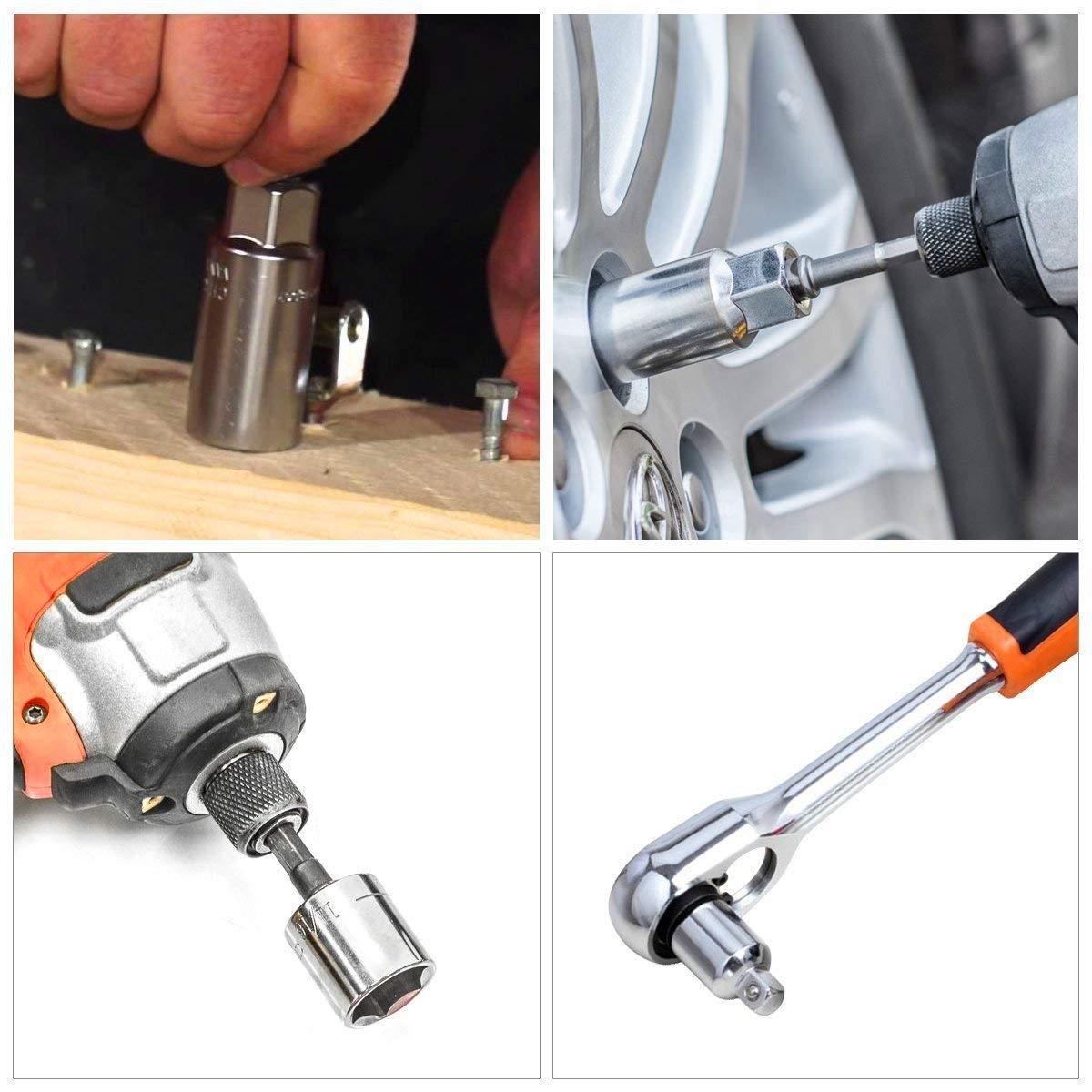 "Socket Adapter Converter Kit, 3Pcs 1/4 Hex Shank to 1/4"" 3/8"" 1/2"" Impact Driver Drill Power Bits and 4Pcs 1/4 3/8 1/2 Drive Socket Adapter Converter Reducer Air Impact Craftsman Socket Wrench Adapter"