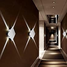 Alotm Modern Aluminum Wall Lamp, 4 Narrow Beam Spot Lights Sconce Wall Lighting Fixtures Wall Decor Ceiling Night Light for Bedroom, Living Room, Theater Studio Restaurant Hotel (Cool White)