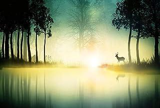 XiuTaiLtd Puzzle per Adulti Paesaggio Foresta Cervo Silhouette Natura Alberi Spray 1000 Pezzi, Regali di Festa per Gli Amici