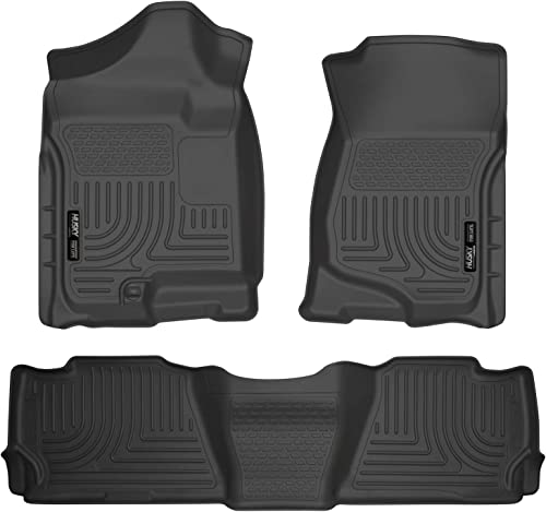 lowest Husky new arrival Liners 98251 Fits 2007-14 Cadillac Escalade, 2007-14 Chevrolet online sale Tahoe, GMC Yukon Weatherbeater Front & 2nd Seat Floor Mats , Black online sale