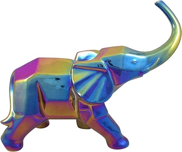 FASHIONCRAFT Iridescent Rainbow Large Ceramic Elephant Figurine 12 Inch