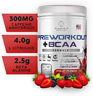 The Alliance Nutrition Pre Workout + BCAA – Caffeine for Energy, BCAA for Recovery, Beta Alanine, Stamina, Keto Friendly, Fruit Punch (30 Servings)