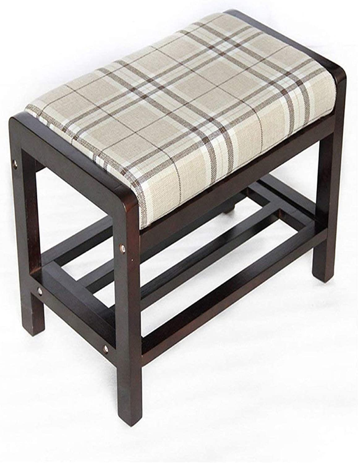 Stool Stool Solid Wood Fabric Simple shoes Stool Modern Assembly Sofa Stool Plaid Fabric 37x33x55cm 01
