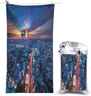 Bath Washcloths, Urban,Bangkok Thailand Skyline, 55 x 27.5 Inches Super Absorbent Lightweight Microfiber Bath Towels for Travel Pool Gym