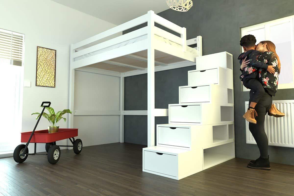 ABC MEUBLES - Cama Alta Sylvia con Escalera Cubo - Cube - Blanco, 120x200: Amazon.es: Hogar