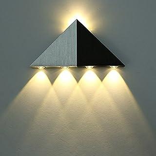 Lightess Apliques de Pared Pirámide Triangular Lámpara 5W 5 LED Lámpara de Pared Luz Cálida y
