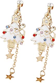 Spaufu Christmas Cute Cartoon Earring Form of Christmas Tree for Woman Earring Pendant Ornaments Theme Party Masquerade Accessories Alloy White Black 1pair