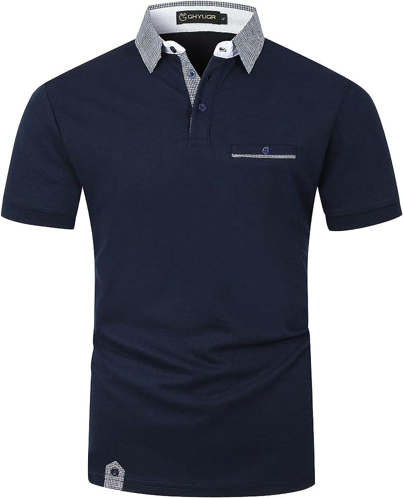 Ghyugr polo maglietta da uomo a maniche corte 100% cotone shenkaclothing0618-A
