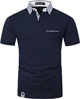 GHYUGR Polo Homme Manche Courte Contrasté Plaid épissure T-Shirt S-2XL