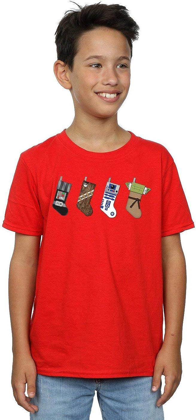 STAR WARS Boys Christmas Stockings T-Shirt 9-11 Years Red