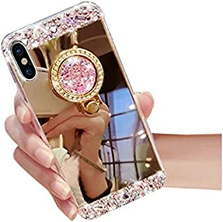 iPhone X Case,Inspirationc Crystal Rhinestone Mirror Glass Case Bling Diamond Soft Rubber Makeup Case for iPhone X with Detachable 360 Degree Ring Stand-Gold