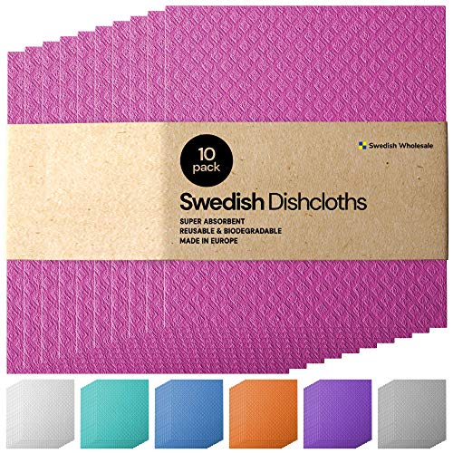 Swedish Dishcloth Cellulose Sponge Cloths - Bulk 10 Pack of Eco-Friendly No Odor Reusable Cleaning Cloths for Kitchen - Absorbent Dish Cloth Hand Towel