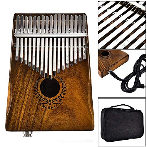 Natural Acacia Wood Thumb Piano, 17 Tasten Kalimba Thumb Piano Metall Gravierte Notation Zinken Finger Piano Body Tuning Hammer Pickup Tragetasche African