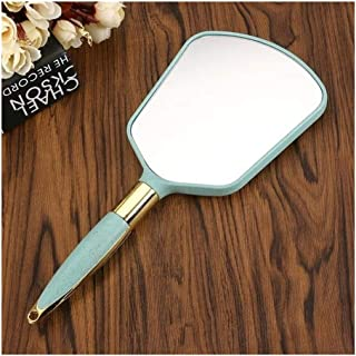 YXZQ Makeup Mirror, Plastic Rectangle Hand Held Mirror Professional Beauty Vanity Mirror with Handle Makeup Tool (Color : Beige)