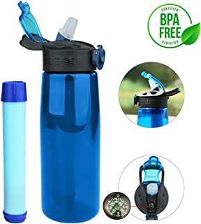 Homestopia 650ML Water Bottle with Filter Portable Drinking Filtered Straw Water Purifier for Sport Hiking Backpacking Emergency Camping Travel