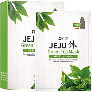 SNP - Jeju Rest Green Tea Korean Face Sheet Mask - Maximum Hydration & Protection for All Dry Skin Types - ...
