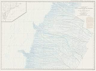 Vintography Gallery Wrap Art Canvas 18 x 24 Image of 1938 Bathymetric Map United States - East Coast Coastal Slope East of Chesapeake Bay Entrance USA