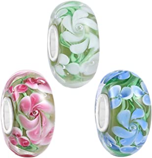 3PCS Hawaii Spring Flower Murano Lampwork European Glass Crystal Charms Beads Top Quality Solid Core Charm
