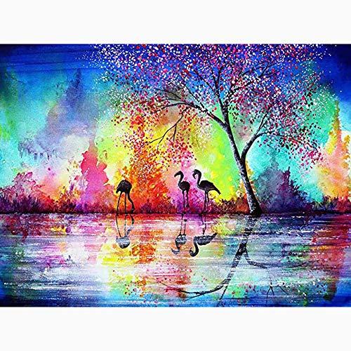 ARjzap DIY Pintar por números Flamenco Pintar por números Kit de Pintura acrílica DIY para niños y Adultos Principiantes