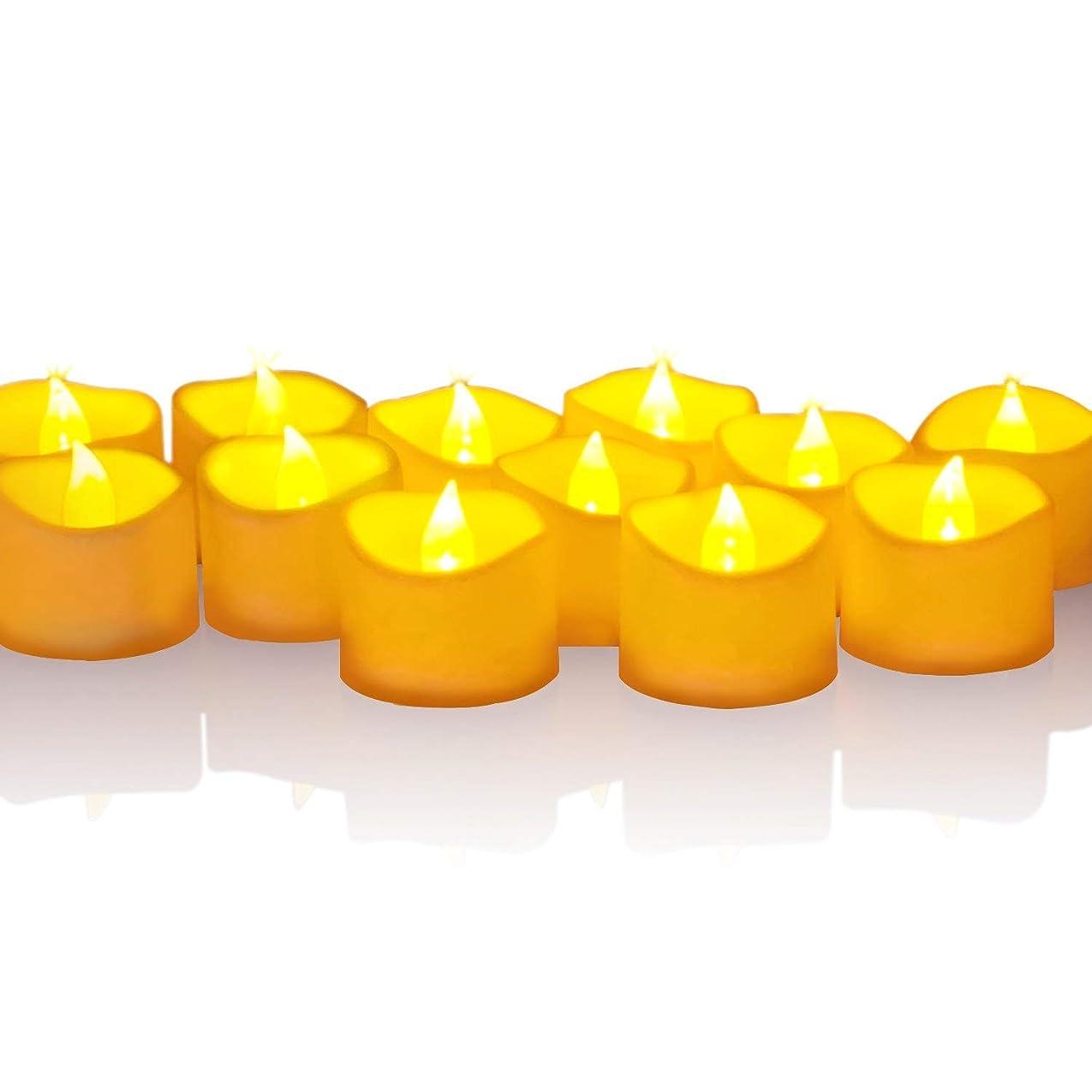 特派員肯定的安心させるPGONE LEDキャンドルライト LEDキャンドル ティーライト ろうそく 癒し暖かい黄色灯り ゆらゆらと揺らめく炎 リアル感 火を使わず 安全 省エネ 環境に優しい 長持ち 便利 おしゃれ 雰囲気作り/クリスマス/結婚式/誕生日/室内、室外飾りに最適 無香料 電池(CR2032/3V)付き 12個セット
