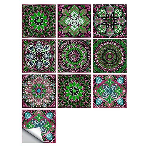vinilos pared,10 piezas de empalme pequeñas pegatinas de baldosas de simulación floral, 20 cm renovación del hogar decoración de cocina y baño pegatinas de pared autoadhesivas-06