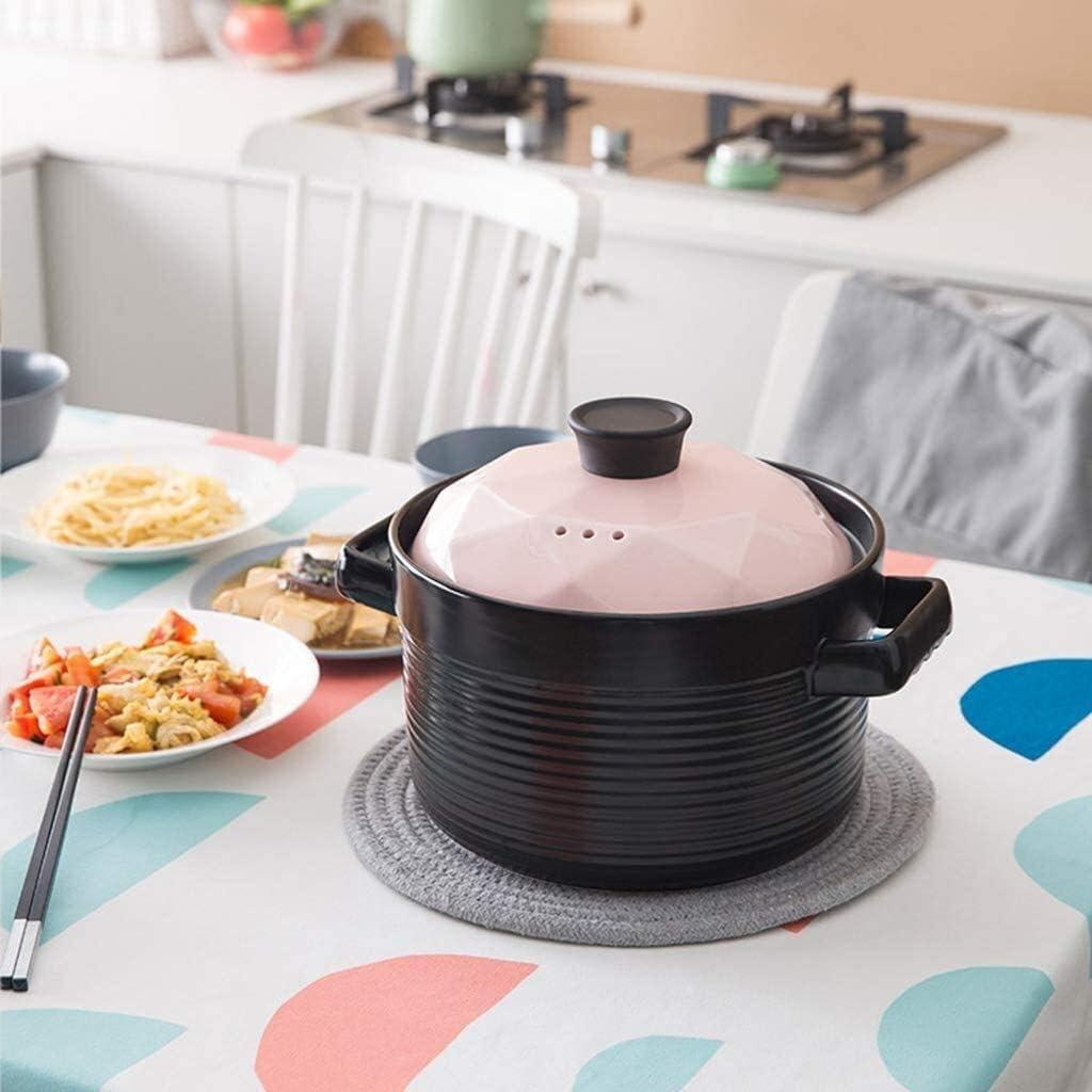 YWYW Soupe Santé Cuisine Ustensiles de Cuisine Casserole en céramique Ragoût avec Couvercle Pot à Soupe, ragoût (Couleur: Rose) Pink