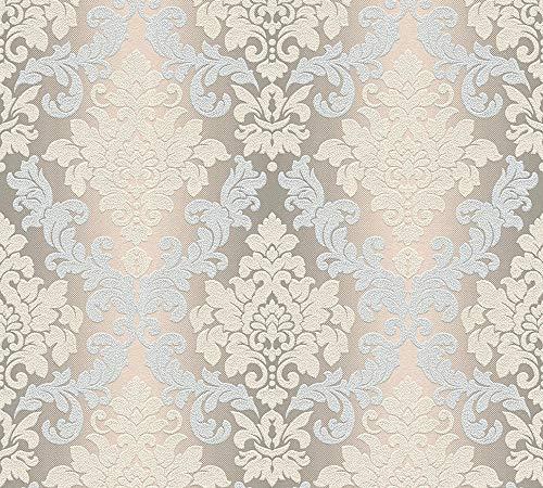 awallo Vliestapete mit Glitter neo barock glamourös klassisch Tapete 10,05 m x 0,53 m beige braun metallic Made in Germany 362681 36268-1