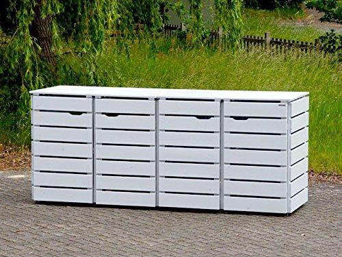 4er Mülltonnenbox / Mülltonnenverkleidung 240 L Holz, Deckend Geölt Lichtgrau