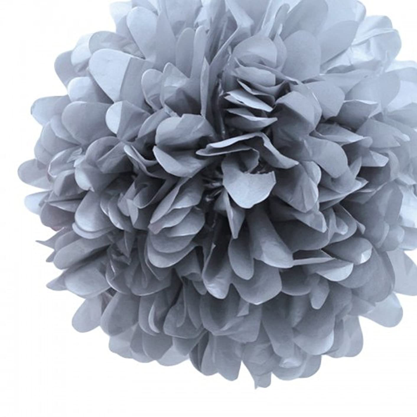 S-shine Set of 3 Tissue Pom Poms Party Decorations for Weddings, Birthday Parties Baby Showers and Nursery Décor (16-inch Diameter, Silver Grey)